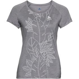 Odlo BL Concord Maglia girocollo a maniche corte Donna, grey melange-flower leaf print ss19